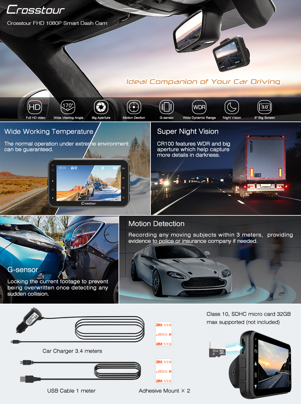 crosstour 1080p full hd dash cam in car camera 3 inch. Black Bedroom Furniture Sets. Home Design Ideas