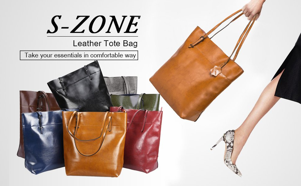 468bb1c9976 S-Zone Vintage Genuine Leather Tote Shoulder Bag Handbag Big Large Capacity