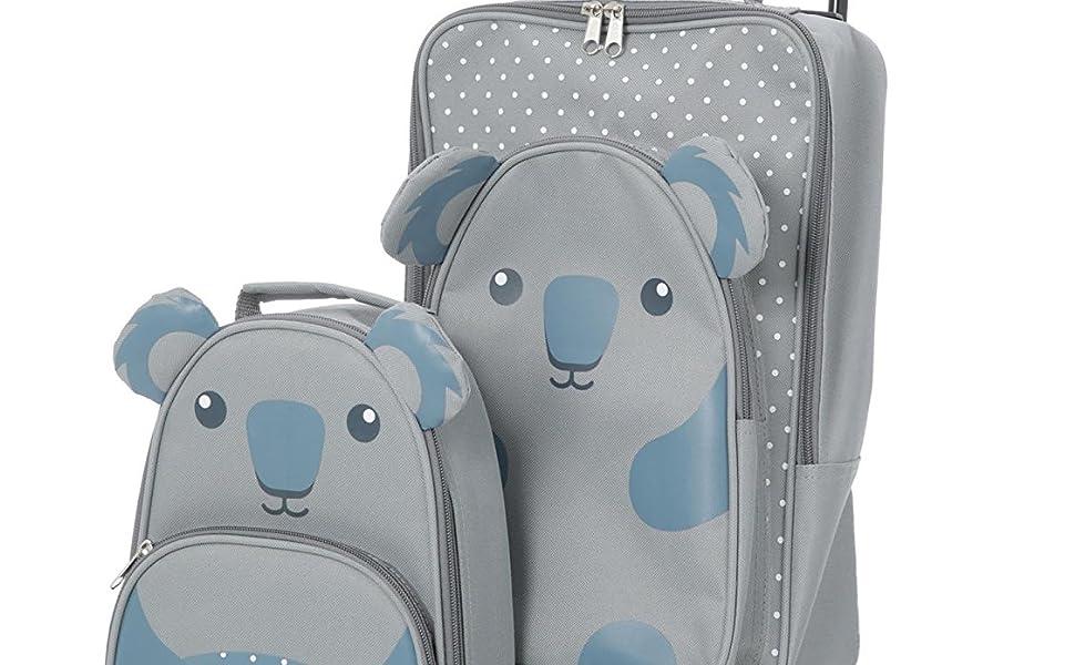 Children Koala Backpack Trolley Set
