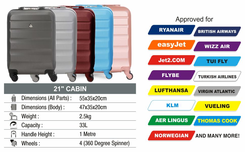 Aerolite Lightweight 55cm Hard Shell 4 Wheel Travel Carry