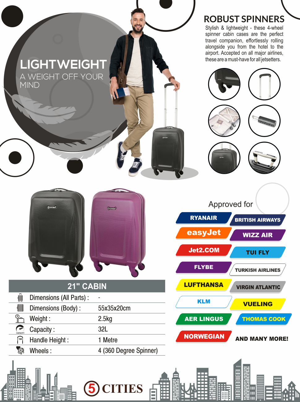 d971e6c4f45d 5 Cities bags and suitcases are the perfect travel companion for any  jetsetter. Available in a variety of styles and colours, they offer  travellers an ...