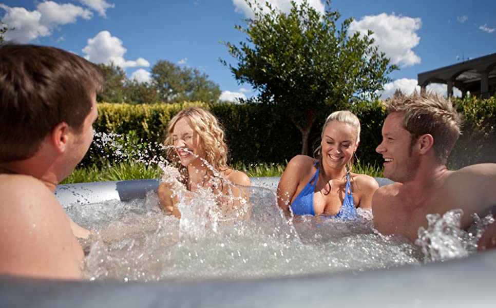 MSpa Silver Cloud Luxury Portable Inflatable Round Bubble Hot Tub ...
