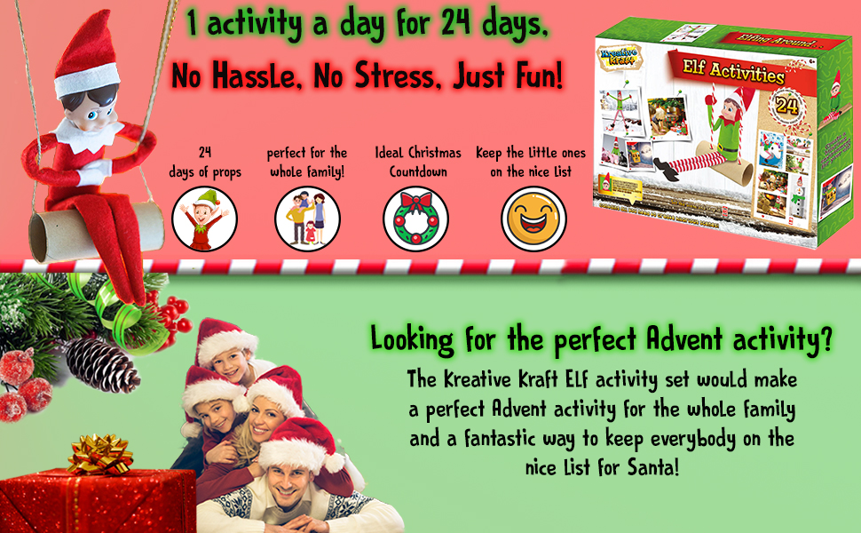 Kreativekraft Elf Behaving Naughtily 24 Activities Naughty Elves Fun Activity For Kids Mega Pack 119 Pieces Amazon Co Uk Toys Games