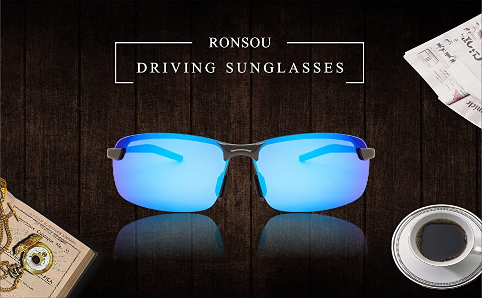 d02048fa27 Ronsou Men UV400 Rimless Aluminium-Magnesium Polarized Sunglasses ...