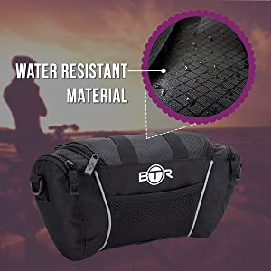 BTR 5 Litre handlebar bag shown with water resistant material