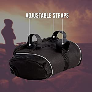 BTR handlebar bag shown from the back with the adjustable velcro straps