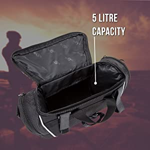 BTR bicycle handlebar bag shown with a 5 litre capacity shown and lid open