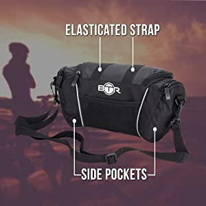Handlebar bag for bike by BTR shown with side pockets & elasticated straps on the top