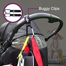 BTR Pram Clips shown on the pushchair handlebar so you can hang extra shopping from the handle