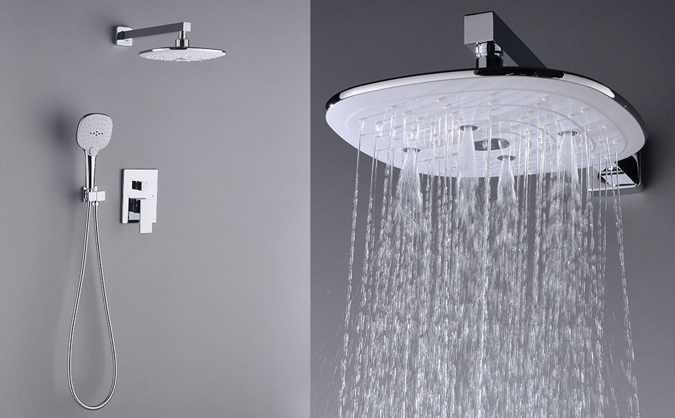rain shower head wall mount. STARBATH Large 10 Inch Square Rain Shower Head Multi-function ABS Rainall Wall Mounted, Chrome Mount