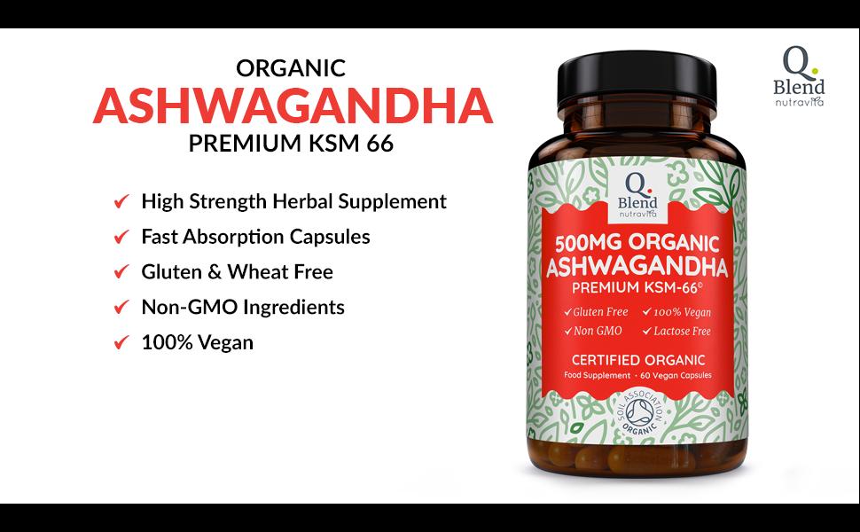 Organic Ashwanghanda 500mg   500mg Premium KSM-66 Ashwagandha per Vegan  Capsule - Ayurveda Herbal Supplement   Certified Organic by Soil  Association  