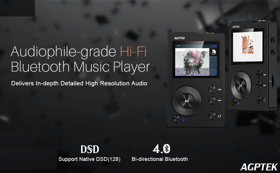 AGPTEK HIFI MP3 Player with Bluetooth High Resolution APTX Lossless Digital  Audio Player with 16GB Memory Card,Support up to 256GB Music Player Black