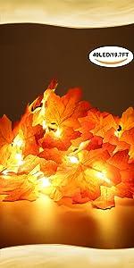 Guirlande lumineuse avec feuilles d'érable artificielles.
