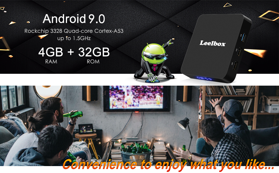 Android 9 0 TV Box, Leelbox Updated Q4 Android Box Quad Core 4GB RAM 32GB  ROM RK3328 Quad-core, Support BT 4 1/WiFi/3D/4K/H 265/USB 3 0