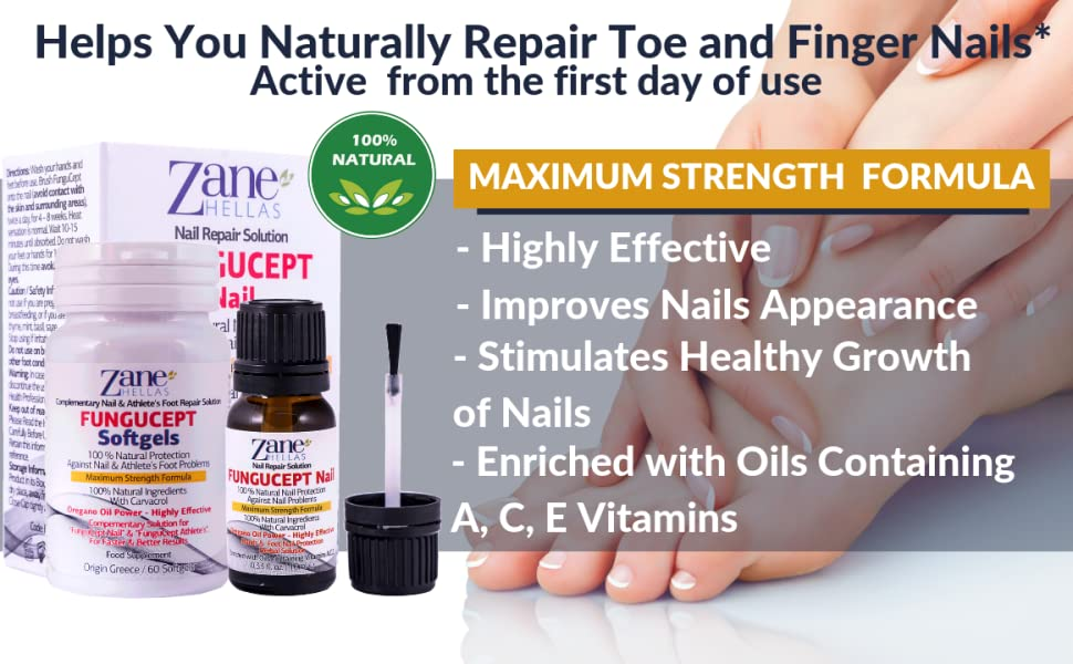 Fungucept Nail Repair Solution  Helps Nails Grow Healthy  Helps New Nail  Grow Free of Infection  Stops Discoloration, Thickening, Crumble, Brittle  and