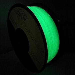 Glow in the dark, 3d printing filament, PLA, 1.75mm