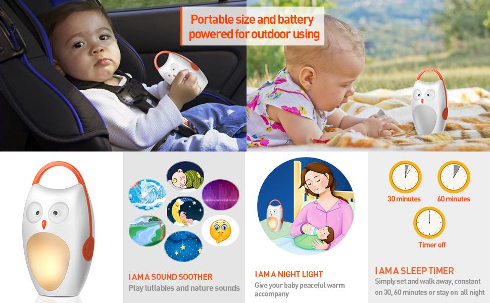 portable sleep sound machine white noise baby sound machine nursery night light soother