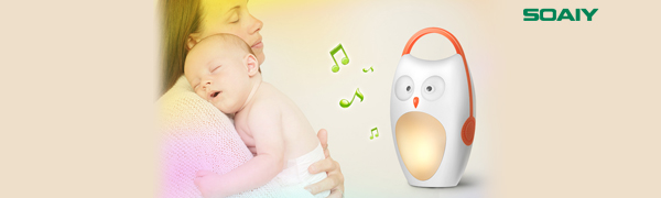 SOAIY White Noise Machine for Baby,Battery-Powered Owl Soother&Night Light