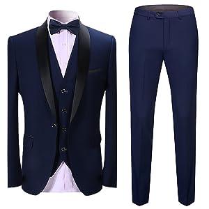 mens suits slim fit 3 pieces suit business dinner suit mens tuxedo blue red wedding suit