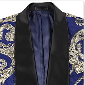 Sliktaa Mens Suits 3 Pieces Floral Printed Navy Blue Shawl Lapel Tuxedo Blazer/&Vest/&Trouser for Peformence Stage Wedding