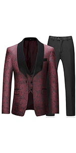 Mens Suits 3 Pieces Slim Fit Wedding Formal Business Tuxedo Suit Black Red White