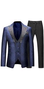 Mens Suits 3 Pieces Tuxedo Suit Single Brested Two Button Notched Lapel