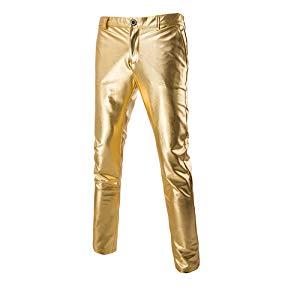 Men's  Metallic Gold Silver Straight Jeans Leg Nightclub