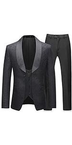 Mens Suits 3 Pieces Slim Fit Wedding Formal Business Tuxedo Suit Blue