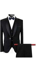 Mens Dinner Suits 2 Piece Slim Fit Black Wedding Tuxedo Suits for Men Button Shawl Lapel Blazer
