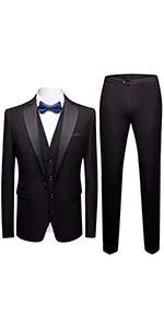 Mens Suits 3 Pieces Slim Fit Wedding  Vintage Suit Black