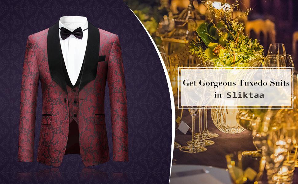 Mens Suit 3 Piece Slim Fit Wedding Red Business Dinner Tuxedo Suits