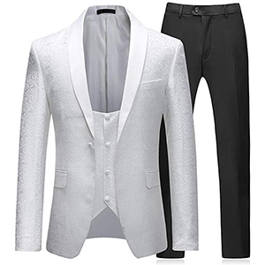 Mens Suits 3 Piece Slim Fit Wedding White Tuxedo Jacket Single Breasted 1 Button Dinner Suit Blazer