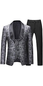 Mens  3 Pieces Slim Fit Wedding Business Dinner Tuxedo Grey Suit Shawl Lapel