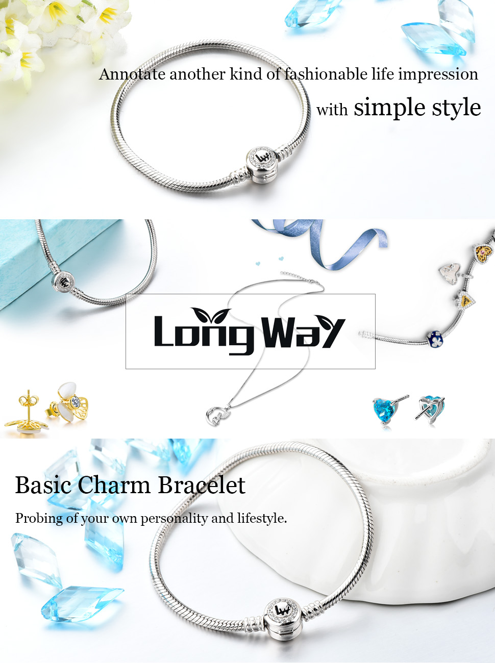 Long Way 925 Sterling Silver Snake Chain Bracelet Cubic ...