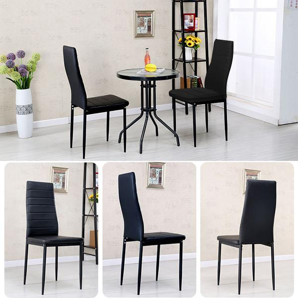 Popamazing 2PCS Modern Faux Leather High Back Dining Chairs Seat Kitchen Room Furniture