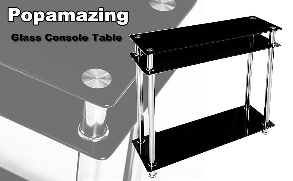 Modern Black Foyer Table : Popamazing tier black glass console table hall tables