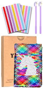 Juego de bolígrafos de gel con diseño de unicornio y lentejuelas reversibles