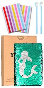 Cuaderno de lentejuelas con diseño de sirena – Diario de lentejuelas reversible