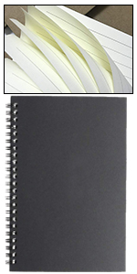 Cuaderno de espiral A5 rayado, 3 unidades, tapa suave, cubierta de papel kraft negro