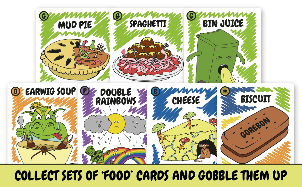 set collecting strategy party take that gross food party card game family friendly goblins