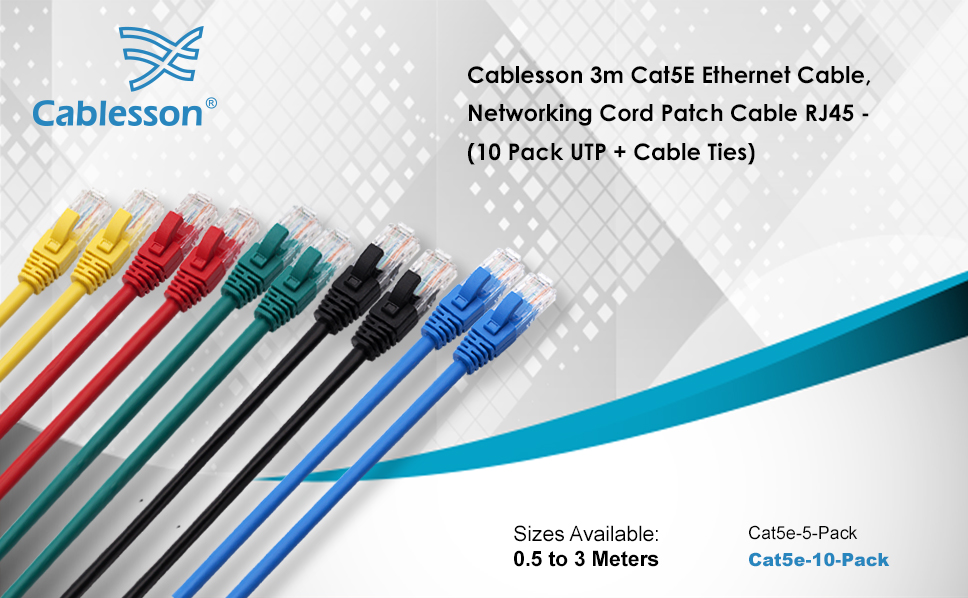 Mac Router PS2 2m Laptop PS3 5 Pack + Cable Ties XBox PS4 PC Networking Cord Patch Cable RJ45 10 Gigabit 100Mhz Lan Wire Cable STP for Modem and XBox 360. Cat5e Cablesson Ethernet Cable