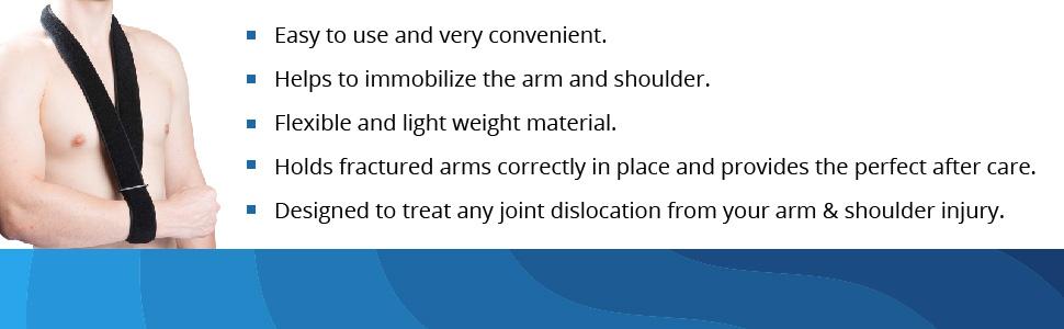 sling arm support broken foam wrist shoulder elbow splint forearm hand cuffs brace sports black men