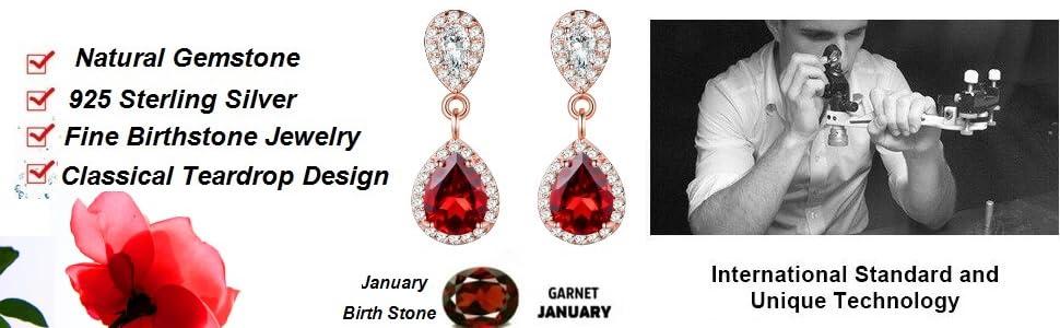 Design 5 925 Sterling Silver Red Teardrop Stud Earrings