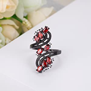 red ring for women,black ring with red stone,women ring red fllower