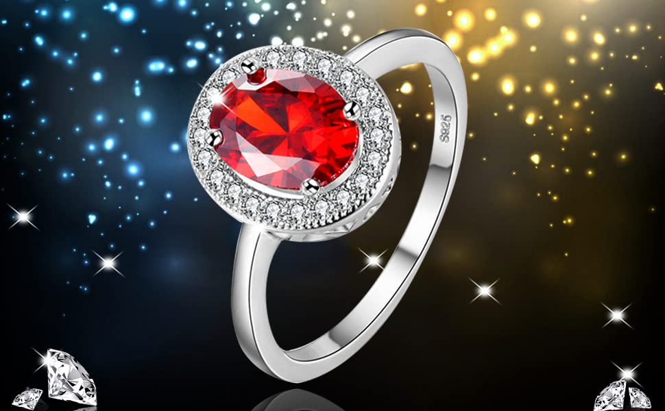 pretty oval cut red garnet ruby solitaire halo wedding bands rings engagement anniversary promise