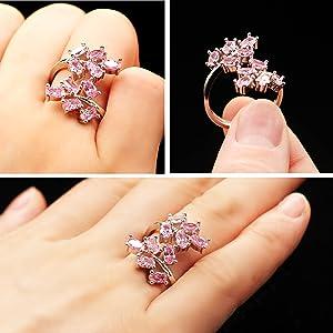 pink crystal ring,promise ring,flower girls ring,,wedding ring
