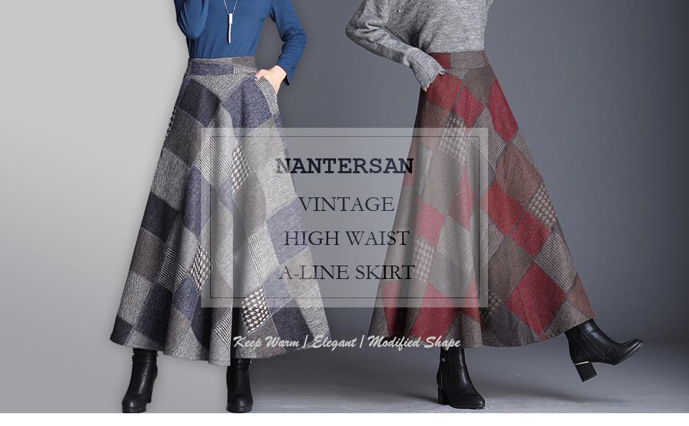 bc668cbbd4 Nantersan Women's Thicken Wool Long Skirt Fall Winter Vintage Plaid ...