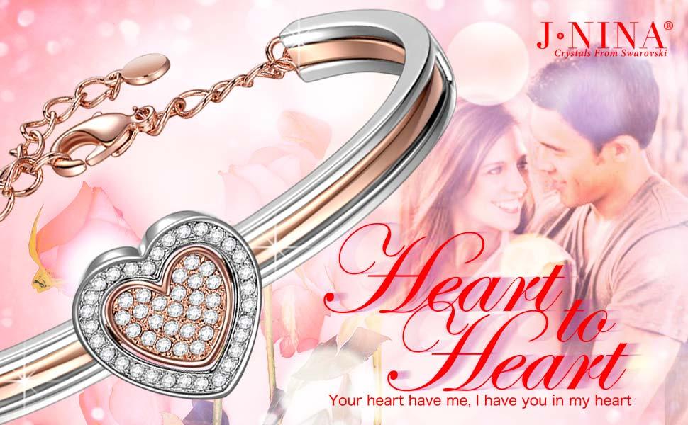 J NINA Cupid Heart Rose-Gold Plated Swarovski crystals Women ...