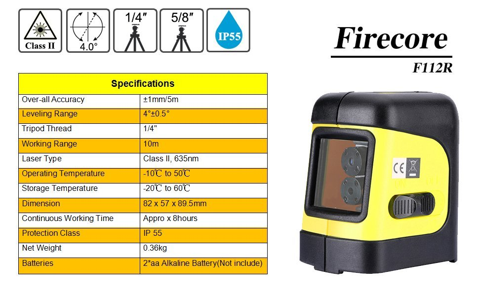 Firecore Self Levelling Cross Line Laser Level F112r With