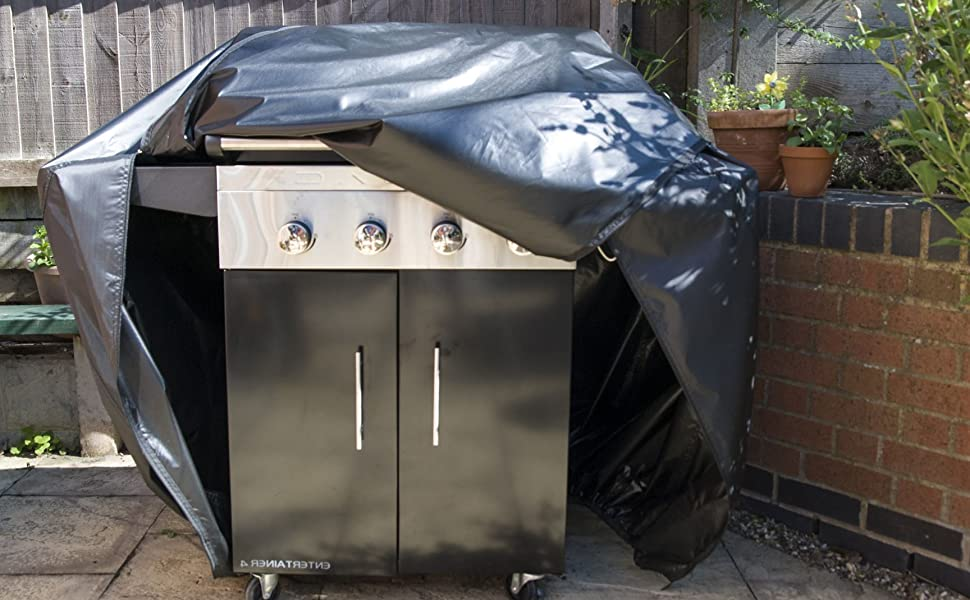 Big Fitted Quality BBQ Cover 2 x Zips, elasticated hem Barbecue Waterproof & Breathable Dual Hood